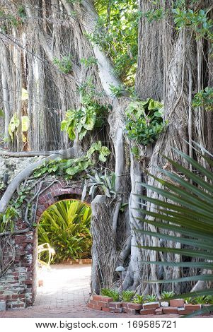 The entrance to the southernmost botanical garden in the United States (Key West Florida).