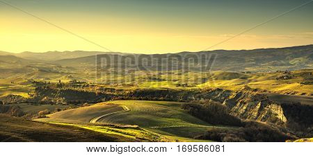 Volterra panorama rolling hills and green fields. Tuscany Italy Europe