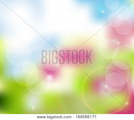 Bokeh Blurry Natural Abstract Pink Background. Spring Background. Vector.