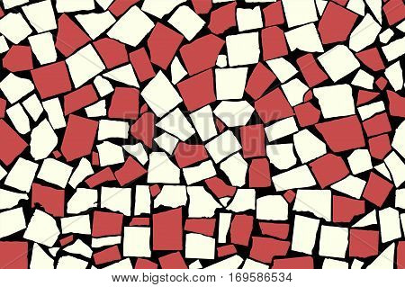Seamless Texture Of Red Asymmetric Decorative Tiles. Vector Illustration