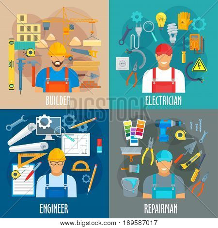 Builder, electrician, engineer and repairman professions vector posters. Workers with work tools for repair, building or finishing drill, trowel and measure, ruler, pliers and paint brush, screwdriver and wrench, plug and socket