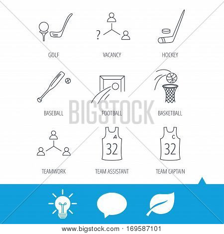 Football, ice hockey and baseball icons. Basketball, team assistant and captain linear signs. Teamwork, vacancy and golf icons. Light bulb, speech bubble and leaf web icons. Vector