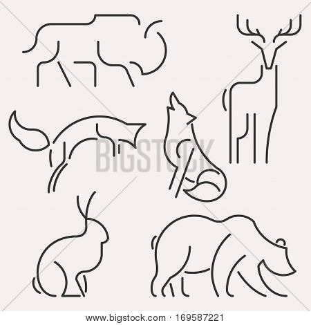 Vector line animal forest logo set. Linear figure of bison, deer, hare, fox, wolf, bear