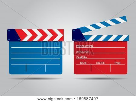 vector illustration of two film clappers isolated on white. EPS