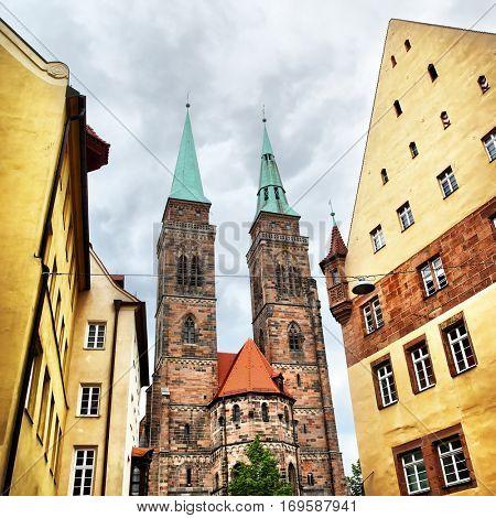 Angle shot of Holy Sebaldus Church in Nuremberg, Germany
