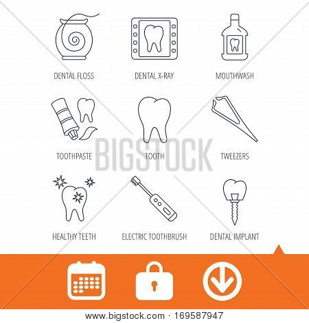 Dental floss, tooth and implant icons. Mouthwash, x-ray and toothpaste linear signs. Electric toothbrush. Download arrow, locker and calendar web icons. Vector