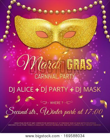 Gold Glitter Mask For Mardi Gras Tuesday Carnival Party Poster Or Flyer On Purple Background With Go
