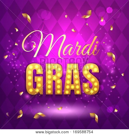 Vector Typographical Illustration Of Mardi Gras Beauty Purple Background With Rhombus Texture And Mu