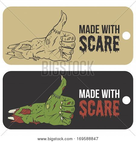 Set of Halloween zombie hand like gesture sale tag isolated on white background. Use for business or promotion. Vector illustration.