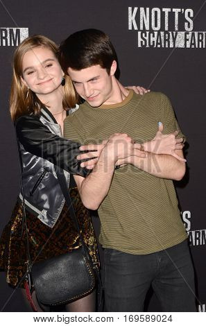 LOS ANGELES - SEP 30:  Kerris Dorsey, Dylan Minnette at the 2016 Knott's Scary Farm at Knott's Berry Farm on September 30, 2016 in Buena Park, CA