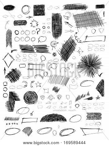 Pencil sketches. Hand drawn scribble shapes. A set of doodle line drawings. Vector design elements. Hatching with a pencil in vector