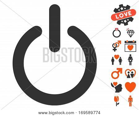 Turn Off icon with bonus marriage pictograms. Vector illustration style is flat iconic symbols for web design app user interfaces.