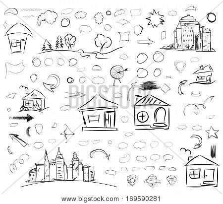 A set of doodle line drawings with houses. Pencil sketches. Hand drawn scribble shapes. Vector design elements. Hatching with a pencil