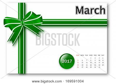March 2017 - Calendar series with gift ribbon design