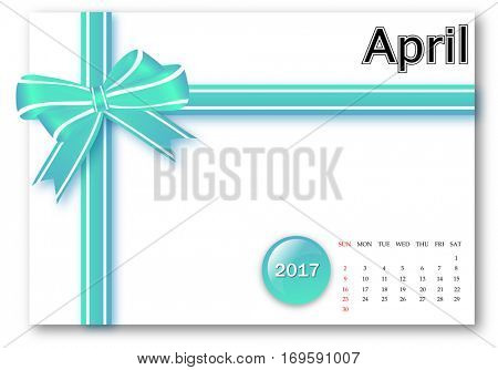 April 2017 - Calendar series with gift ribbon design
