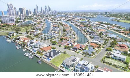 Aerial view side on of Macintosh Island, facing south with Surfers Paradise in the horizon