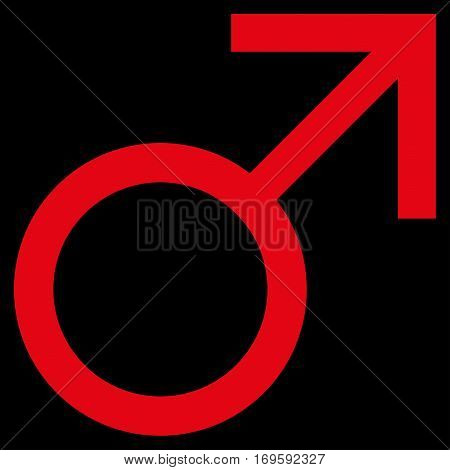 Mars Male Symbol flat icon. Vector red symbol. Pictogram is isolated on a black background. Trendy flat style illustration for web site design logo ads apps user interface.