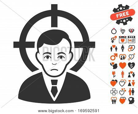 Victim Businessman icon with bonus marriage pictures. Vector illustration style is flat iconic elements for web design app user interfaces.