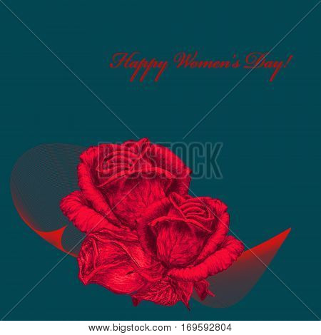 International Women's Day celebrated on March 8 greeting card. Red roses on green background. In some countries this holiday coincides with Mother's Day