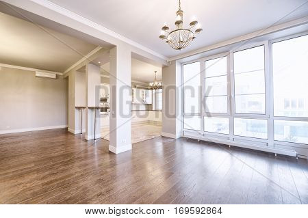 empty interior in modern house Russia,Moscow - new interior in a country house