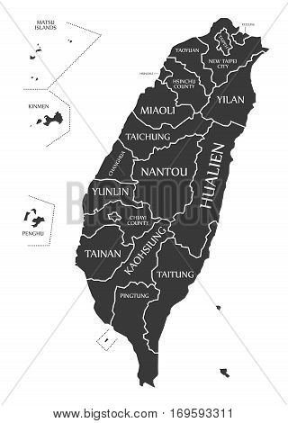 Taiwan Map labelled black illustration mainland silhouette