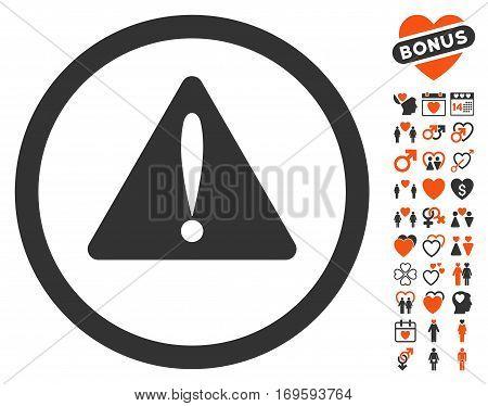 Warning Error icon with bonus love symbols. Vector illustration style is flat iconic elements for web design app user interfaces.