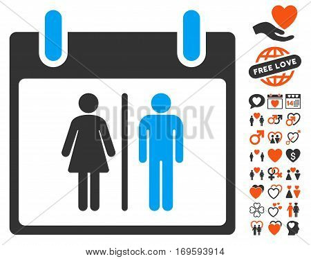 Water Closet Calendar Day pictograph with bonus dating pictograms. Vector illustration style is flat iconic elements for web design app user interfaces.