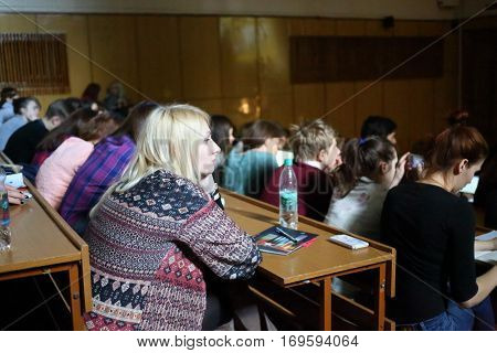 MOSCOW, RUSSIA - FEB 17, 2016: Students listen to lecture - Sciences in University of Moscow, Latest achievements. at Faculty of journalism in Lomonosov moscow state university
