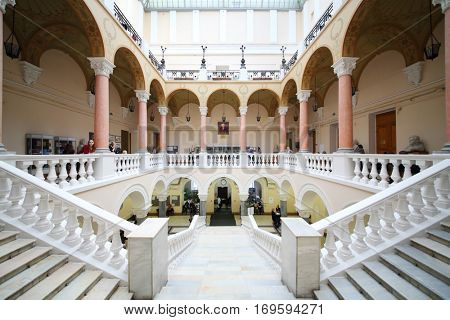 MOSCOW, RUSSIA - FEB 17, 2016: Stairs at Faculty of journalism in Lomonosov moscow state university
