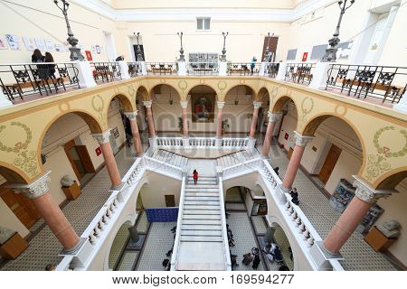 MOSCOW, RUSSIA - FEB 17, 2016: Stairways with column at Faculty of journalism in Lomonosov moscow state university, top view