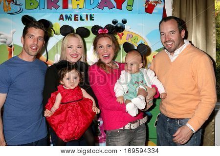 LOS ANGELES - DEC 4:  Scott Bailey, Amelie Bailey, Adrienne Frantz, Virginia Williams, Ford Bricken, Bradford Bricken at the Amelie Bailey's 1st Birthday Party on December 4, 2016 in Studio CIty, CA