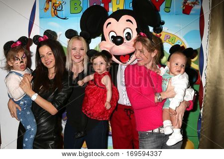 LOS ANGELES - DEC 4:  Phoenix Sursok-McEwan, T Sursok, Amelie Bailey, Adrienne Frantz, Mickey Mouse, Virginia Williams, Ford Bricken at the Amelie Birthday Party on December 4, 2016 in Studio CIty, CA
