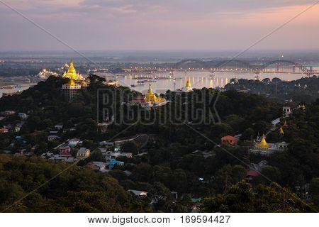 Viewpoint Mandalay city Mandalay hill Myanmar at dusk