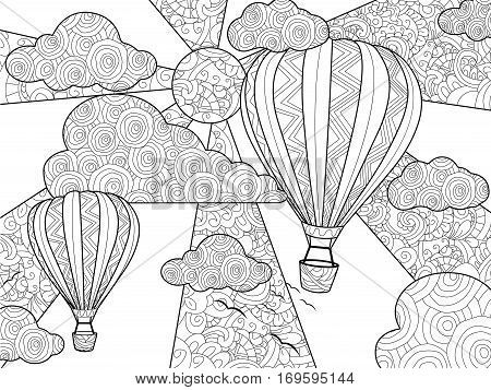 Aeronautic balloon coloring book for adults vector illustration. Anti-stress coloring for adult. Zentangle style. Black and white lines. Lace pattern