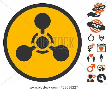 Wmd Nerve Agent Chemical Warfare icon with bonus marriage design elements. Vector illustration style is flat iconic elements for web design app user interfaces.