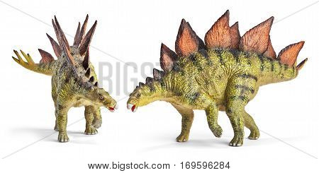 Stegosaurus, genus of armored dinosaur. Side and front view, dinosaurs toy, isolated on white background with clipping path.