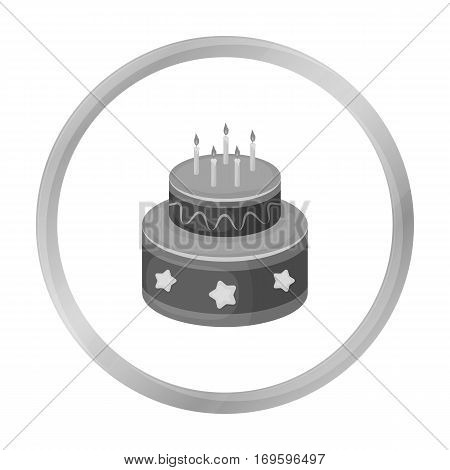 Chocolate cake with stars icon in monochrome design isolated on white background. Cakes symbol stock vector illustration.