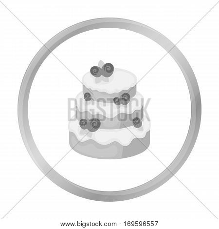 Cake with roses icon in monochrome design isolated on white background. Cakes symbol stock vector illustration.