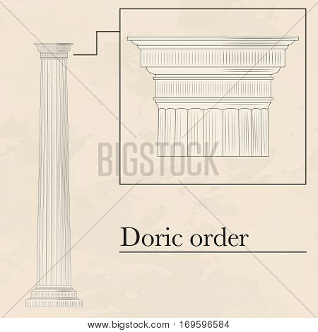 Classical hellenic architectural doric style order on marble background