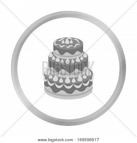 Red three-ply cake icon in monochrome design isolated on white background. Cakes symbol stock vector illustration.