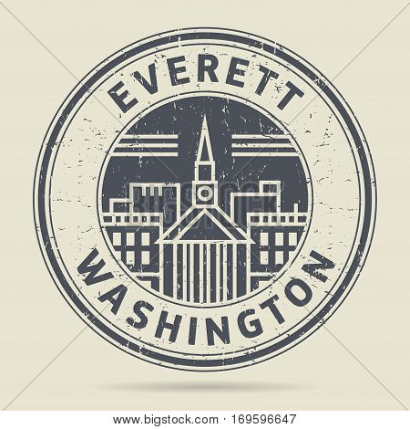 Grunge rubber stamp or label with text Everett Washington written inside vector illustration