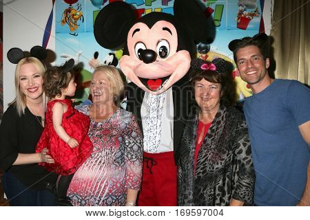 LOS ANGELES - DEC 4:  Adrienne Frantz, Amelie Bailey, Scott Bailey's mom, Mickey Mouse Vicki Franz, Scott Bailey at the Amelie Bailey's 1st Birthday Party on December 4, 2016 in Studio City, CA