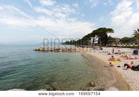LAZISE, ITALY - MAY 6, 2016: Garda Lake /Lago di Garda/ largest Italian lake in North Italy