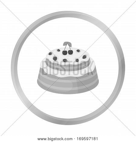Cake with cherry icon in monochrome design isolated on white background. Cakes symbol stock vector illustration.