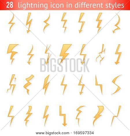 Isolated lightning thunder bolt pictogram icon set design elements vector illustration