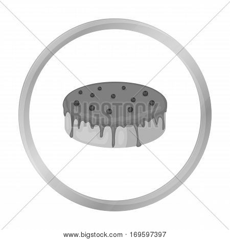 Bilberry cake icon in monochrome design isolated on white background. Cakes symbol stock vector illustration.
