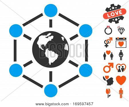 Worldwide Internet icon with bonus decoration graphic icons. Vector illustration style is flat iconic symbols for web design app user interfaces.