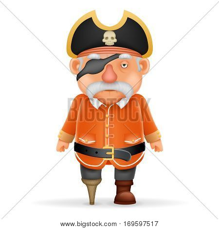 Pirate Captain Funny Old Grandfather Pointing Thumbs Up Realistic Cartoon Character Design Isolated Vector Illustration