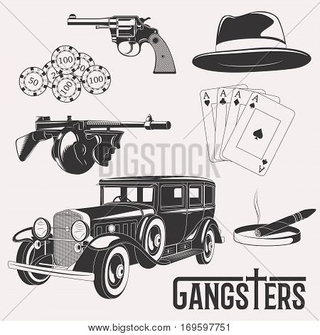 Isolated gangster casino set on white background