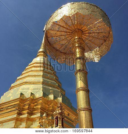 Ancient gold pagoda at doi suthep chiangmai province.Thailand